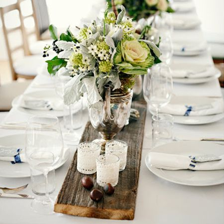 Use A Piece Of Reclaimed Wood As A Table Runner Against A Simple
