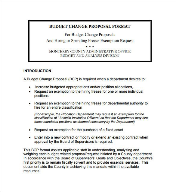 office Budget Change Proposal Format , Office Budget Template - budget proposal