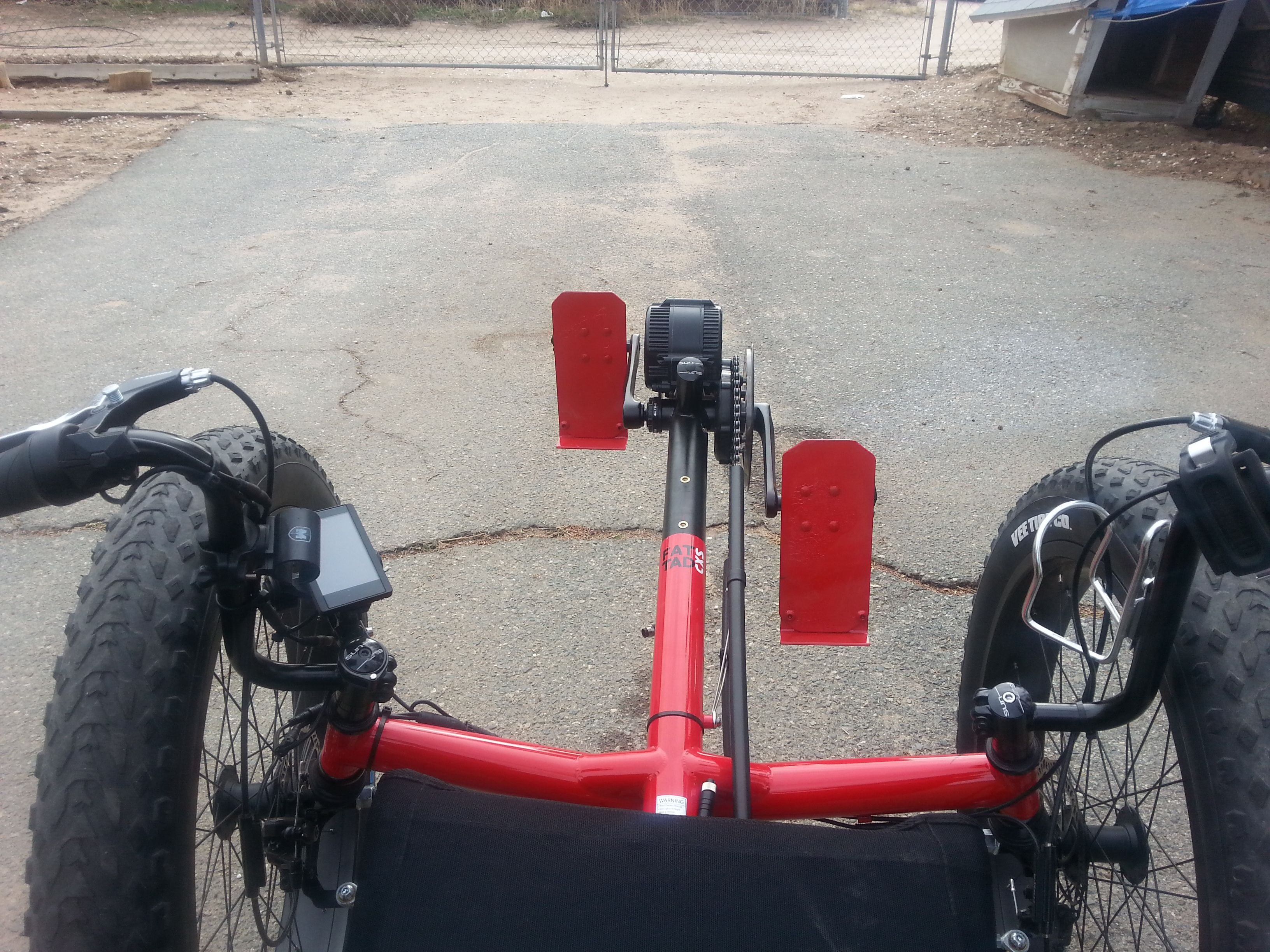 Look from back to front pedals.