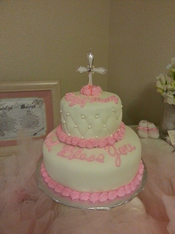 Baptismal cake for Macy and Mady