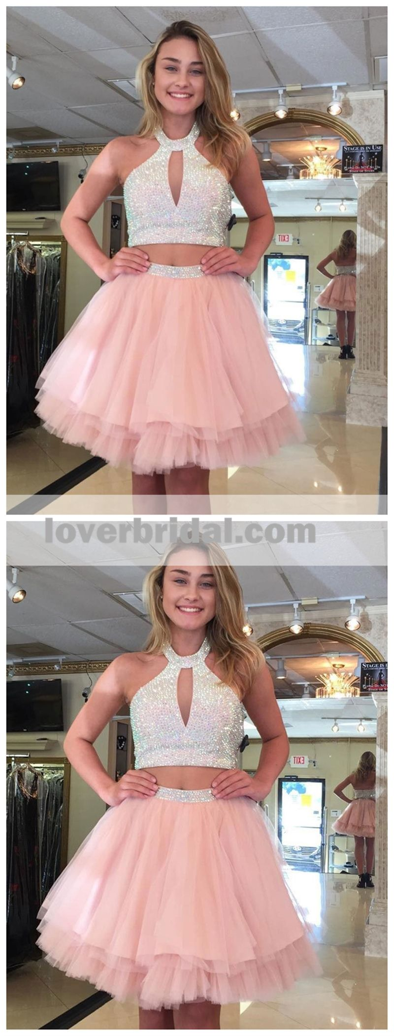 Cute halter two piece beaded short pink homecoming dresses