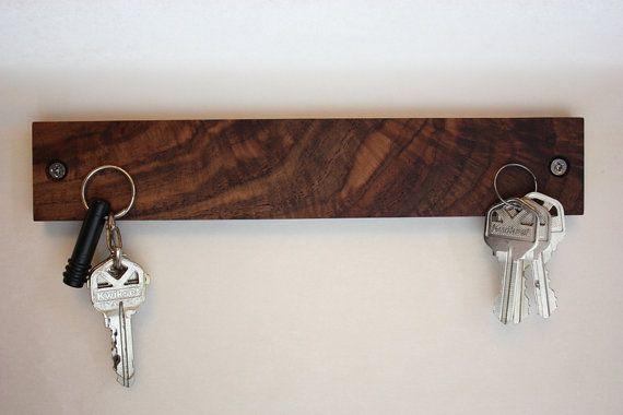 Black Walnut Magnetic Key Holder by mcmasterswoodworks on Etsy, $35.00