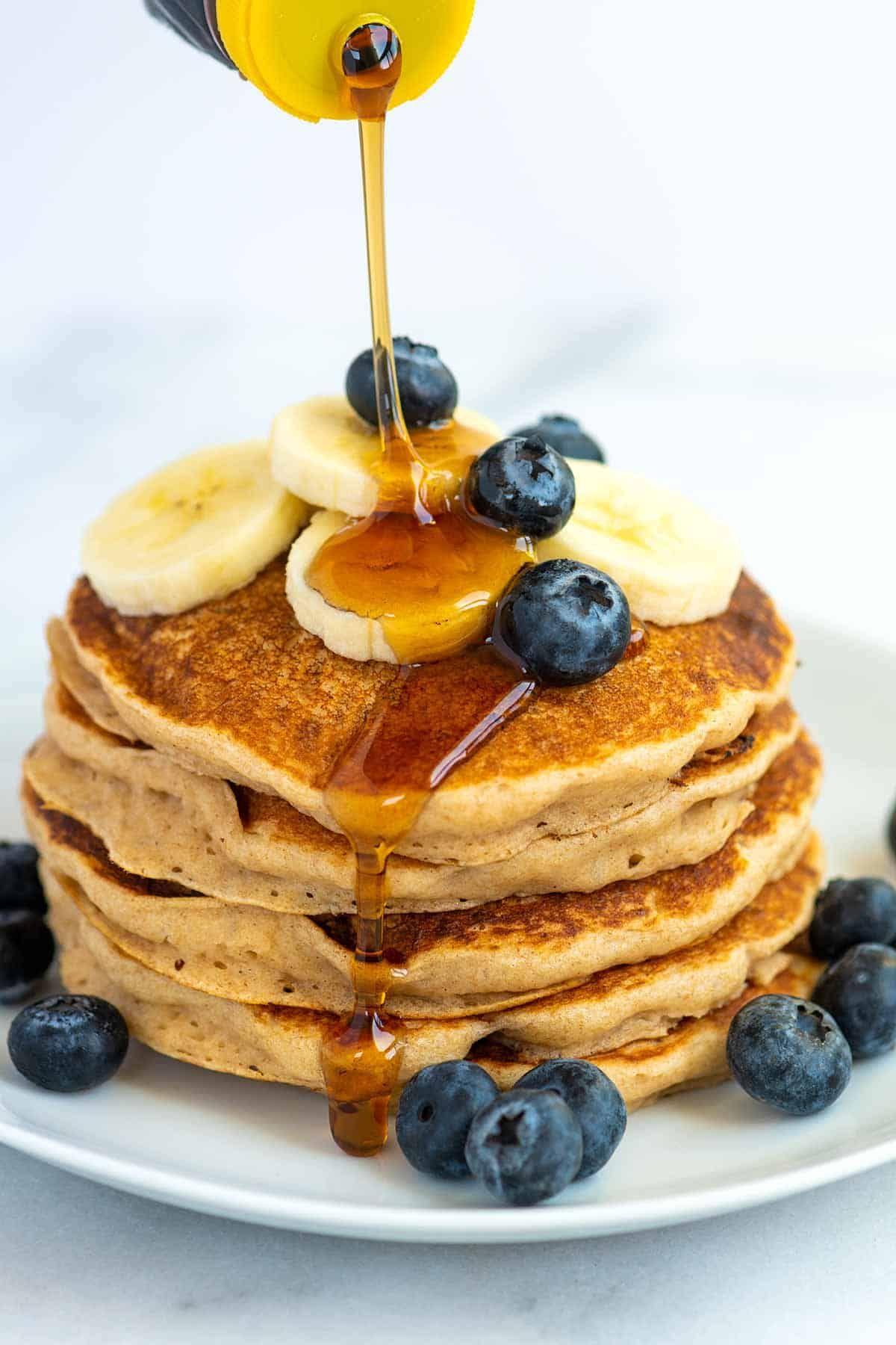 Extra Easy Vegan Pancakes Recipe In 2020 Vegan Pancakes Easy Christmas Food Desserts Vegan Pancakes