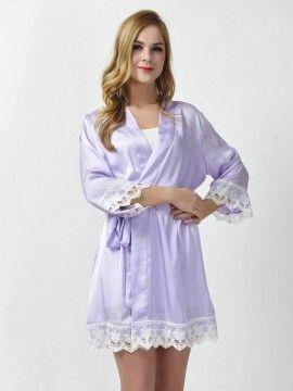 Satin Lavender Kimono Robes Bridesmaid