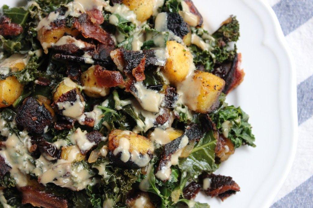 [Leaf Parade. Plantain Hash with Bacon, Kale, Raisins, and Tahini.]