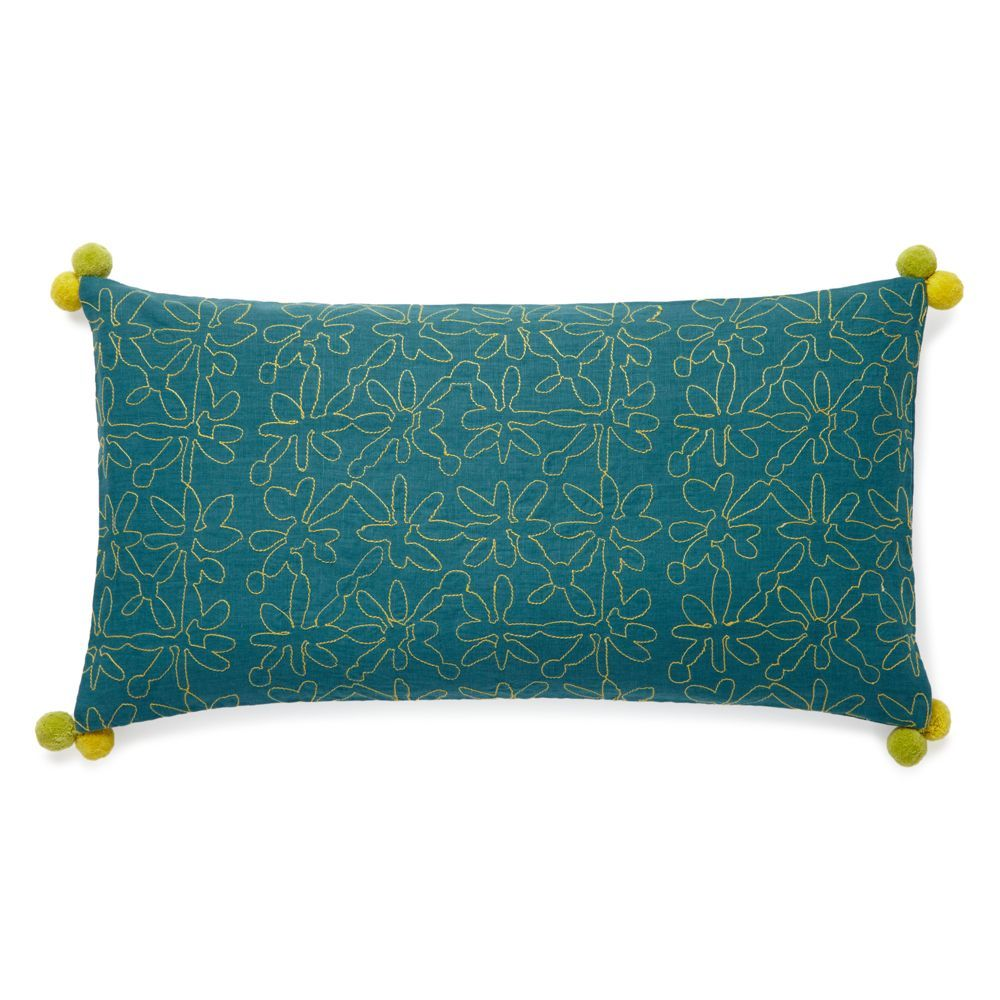 "bluebellgray Cameron Fern Embroidery Decorative Pillow, 12"" x 24"""