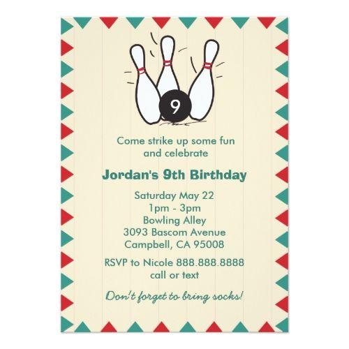bowling birthday party invitations