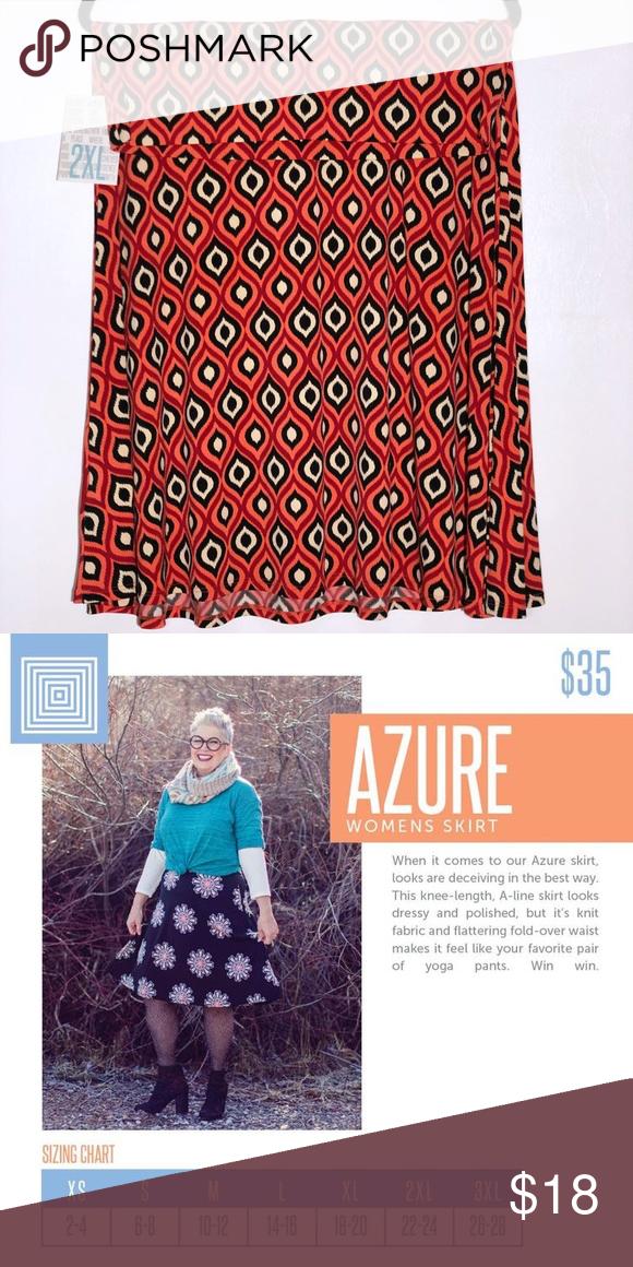 LuLaRoe Azure Skirt NWT 2XL 2nd Pic is Size Chart LuLaRoe
