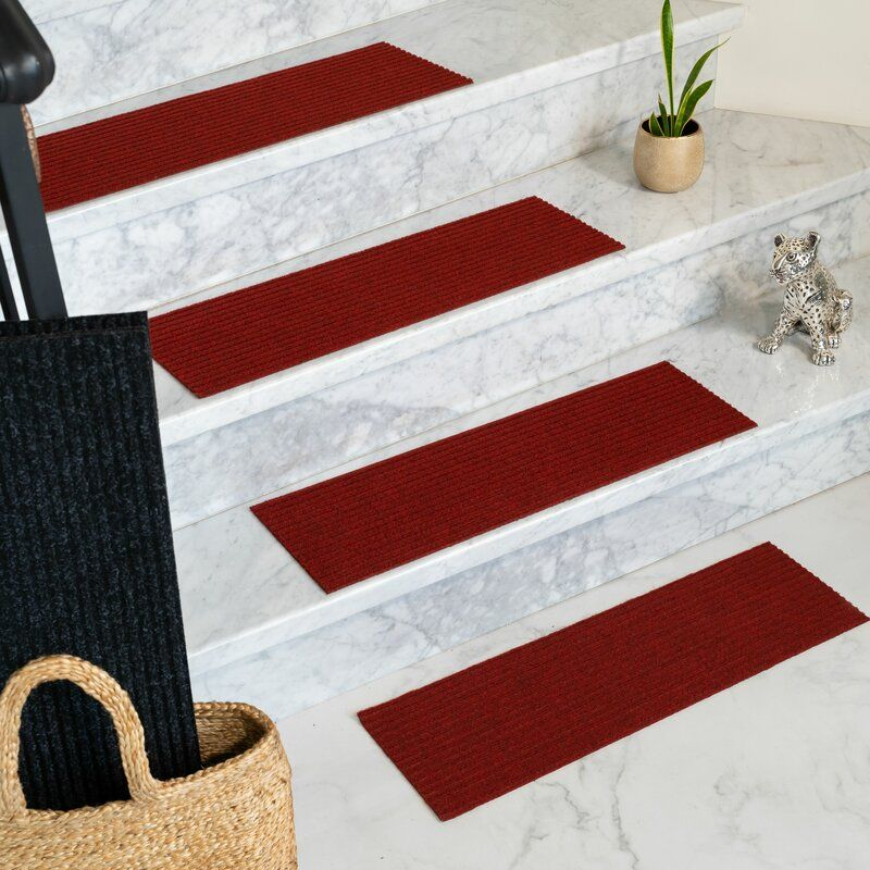 Best Bayless Red Stair Tread Natural Area Rugs Stair Treads 400 x 300