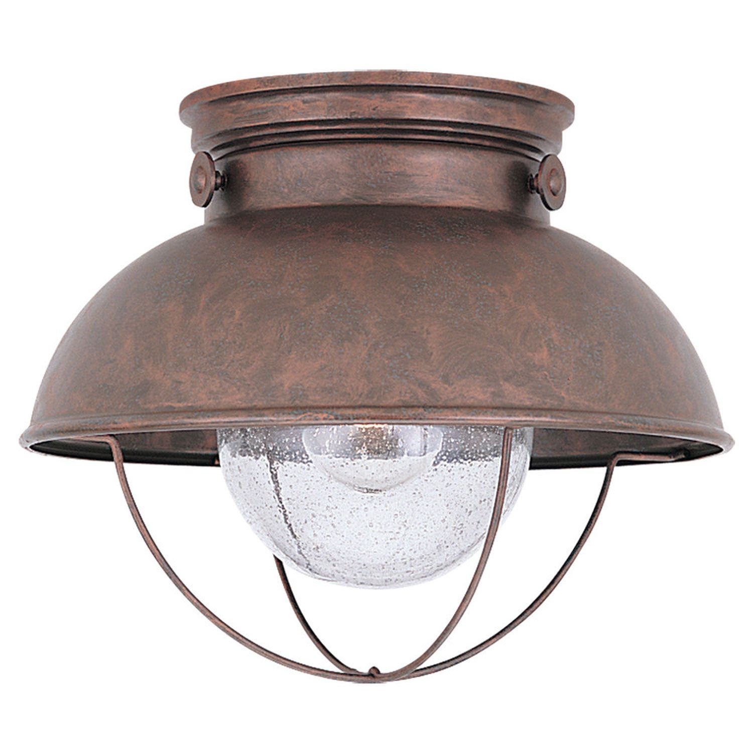 Exceptional Sebring Weathered Copper Outdoor Ceiling Light Sea Gull Lighting Flush  Mount Outdoor Ceili
