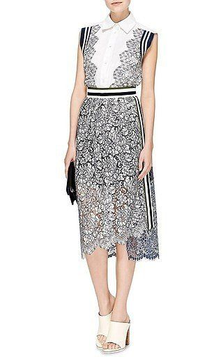 Preen by Thornton Bregazzi - Lace Amara Skirt With Stripes