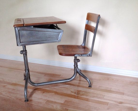 School Desk Industrial Steel And Wood Desk Chair Combo With Adjustable Height And Swivel Chair Work Space Chair Wood Desk Chair Stylish Desk