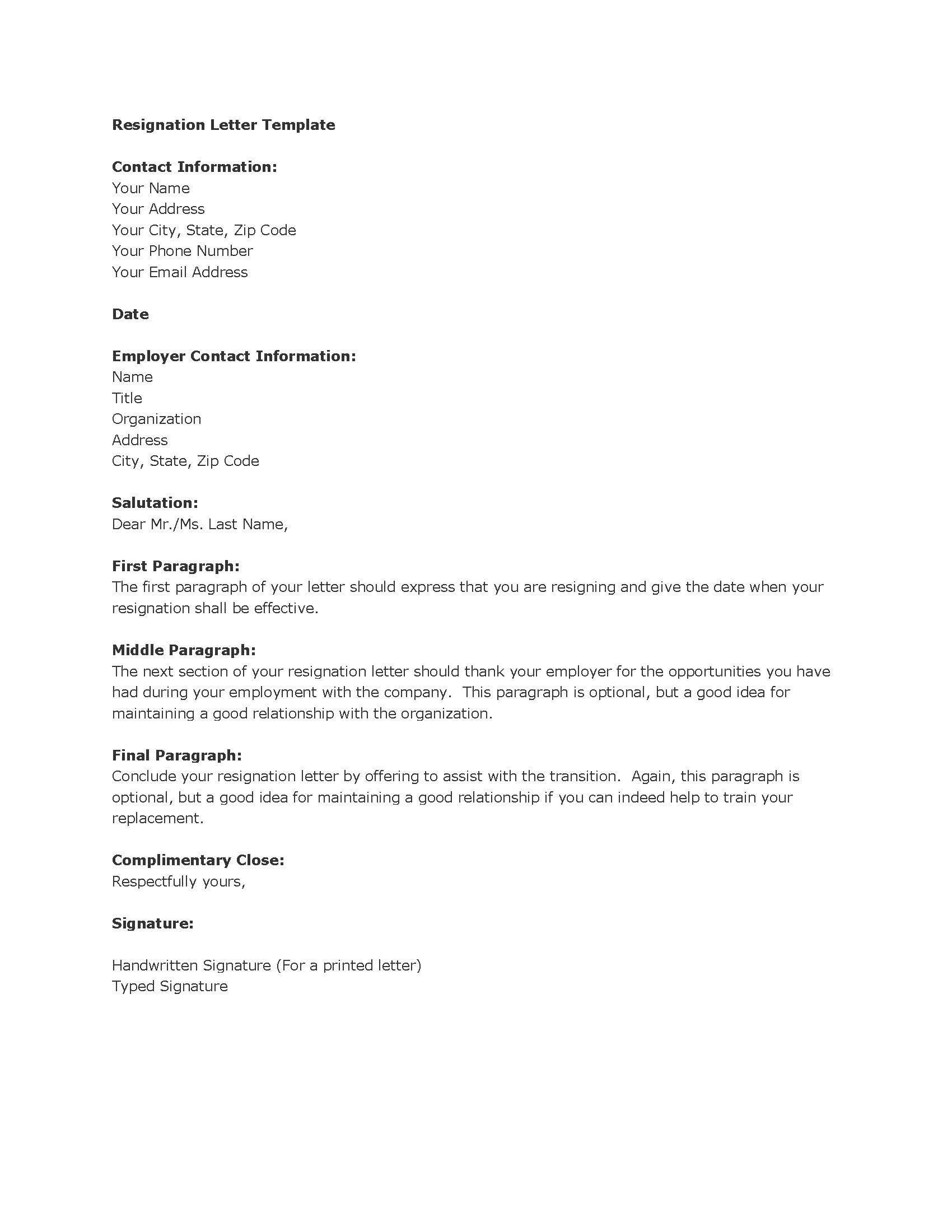 Job Resignation Letter Sample Template