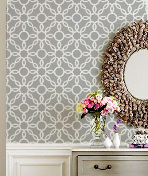 wall stencil round circle lattice trellis geometric pattern wall rh pinterest at