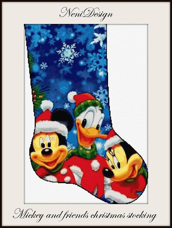 Disney Cross Stitch Christmas Stocking Patterns.Mickey And Friends Christmas Stocking Cross Stitch Pattern