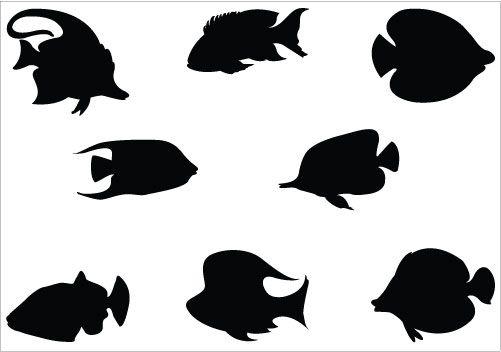 Coral Fish Silhouette Vector Graphic Clip Art Pack Fish Silhouette Silhouette Art Animal Silhouette