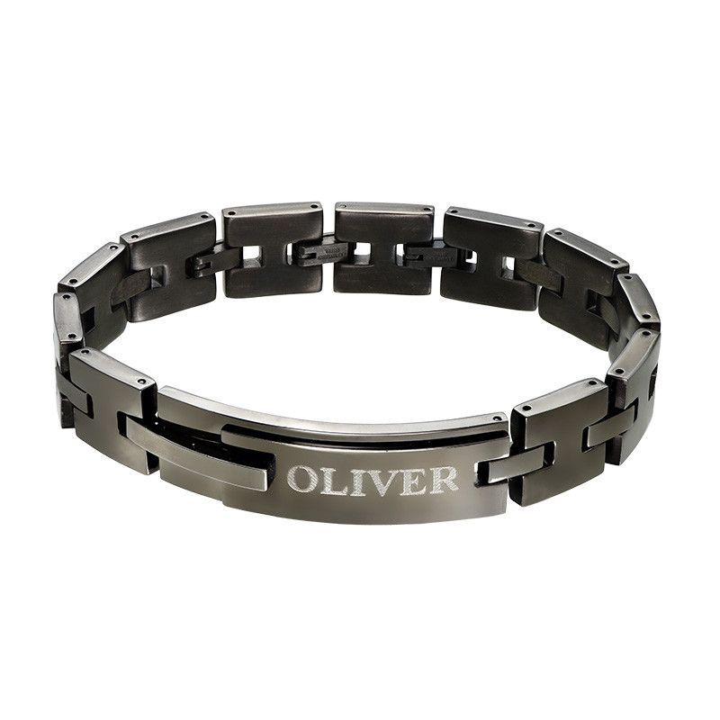 Black Stainless Steel Man Bracelet With Engraving Stainless Steel Bracelet Men Braided Leather Bracelet Bracelets For Men