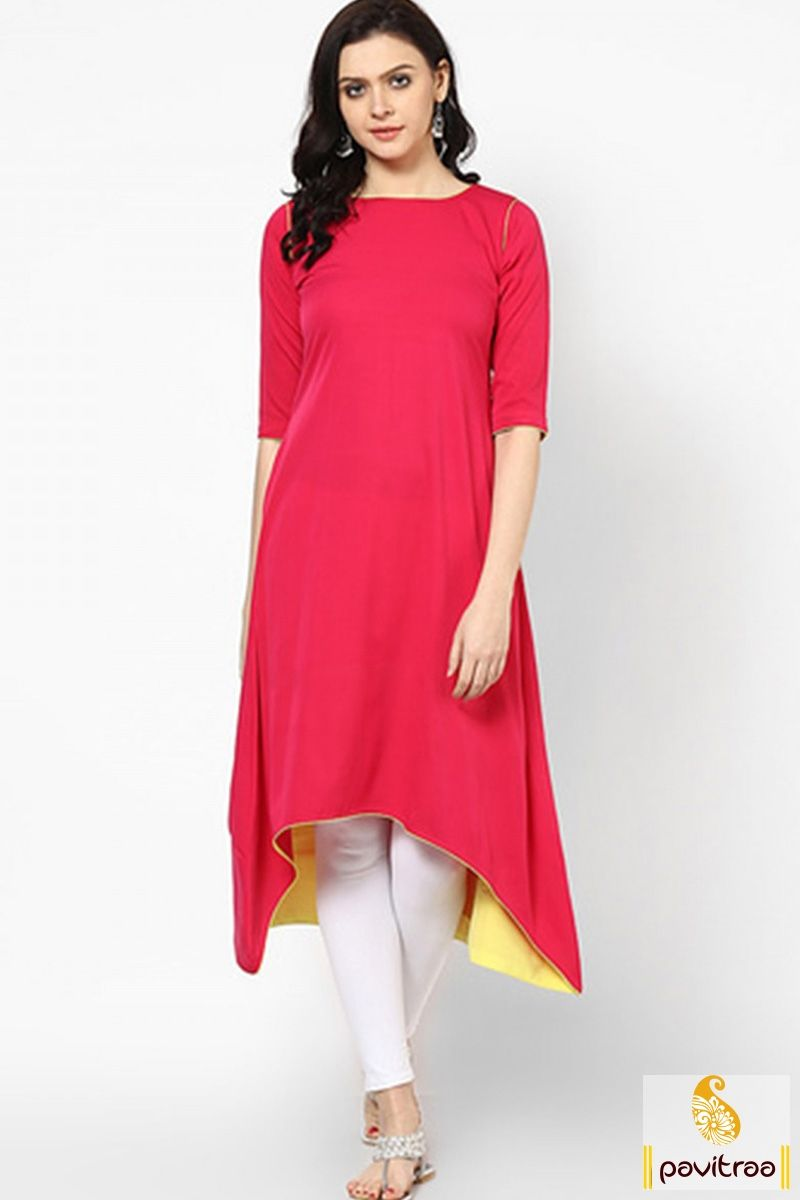 Get beautiful red color fish cut long anarkali kurti in cheap cost ...