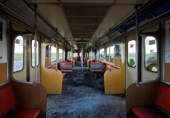toronto ttc abandoned subway train wilson interior i think it would be so cool to re purpose. Black Bedroom Furniture Sets. Home Design Ideas