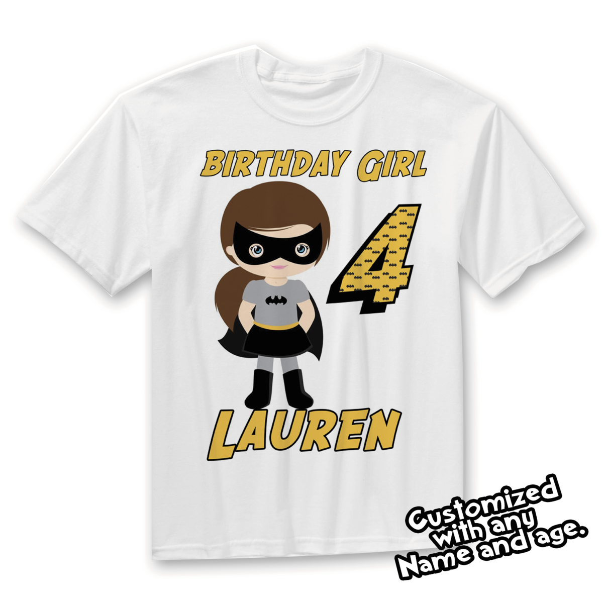 Batgirl Birthday Shirt Super Hero Party Is Completely Customizable With Your Childs Name And
