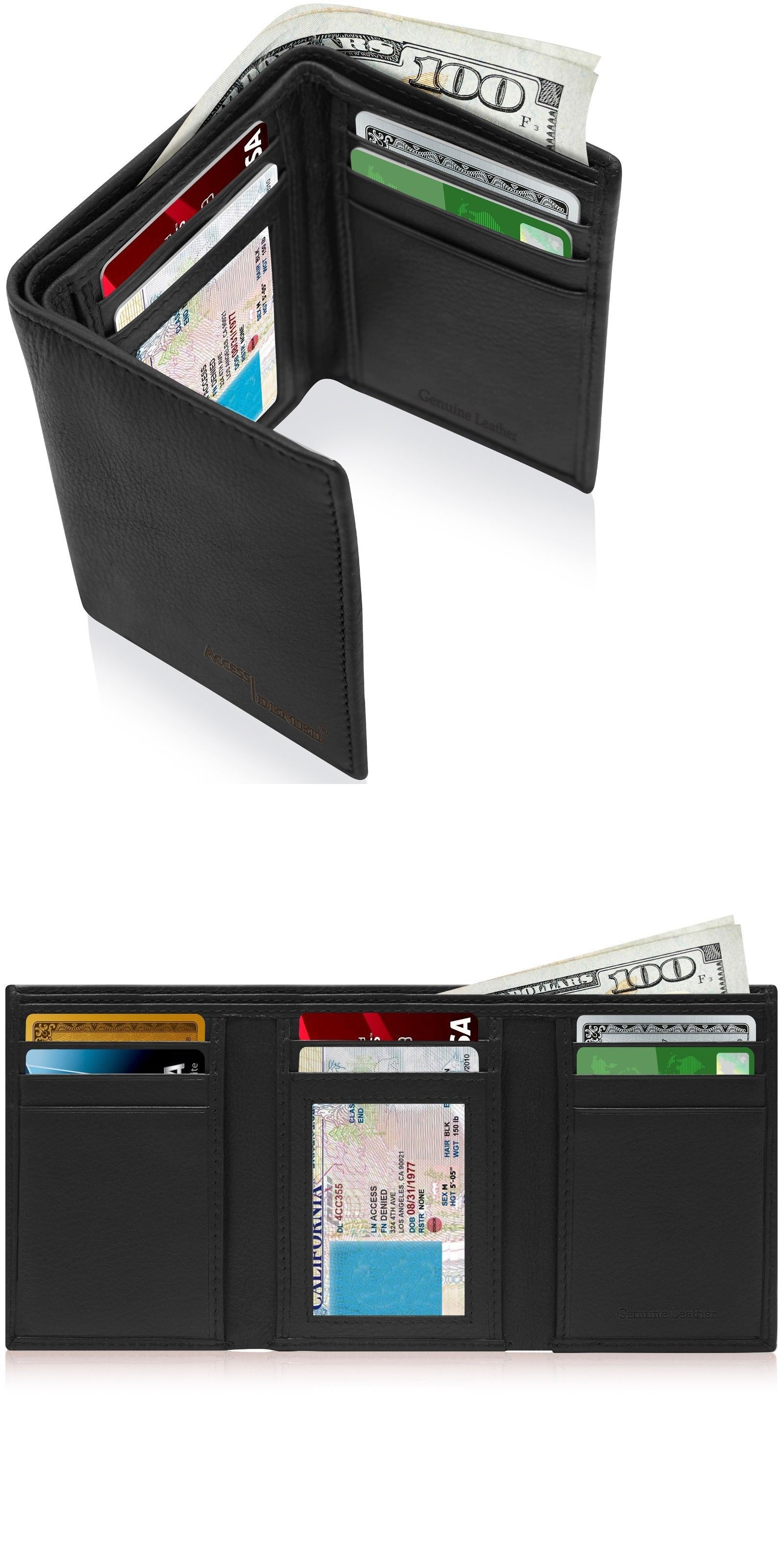 a913d0be17ab ID and Document Holders 169271  Genuine Leather Wallets For Men Trifold  Mens Wallet With Id Window Rfid Blocking -  BUY IT NOW ONLY   18.99 on   eBay ...