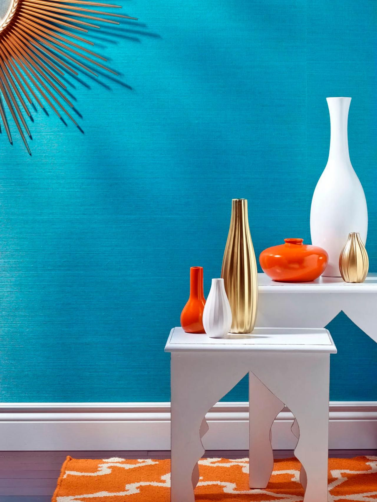 Tangerine Paint Color Unexpected Color Palettes  Hgtv Turquoise And Room
