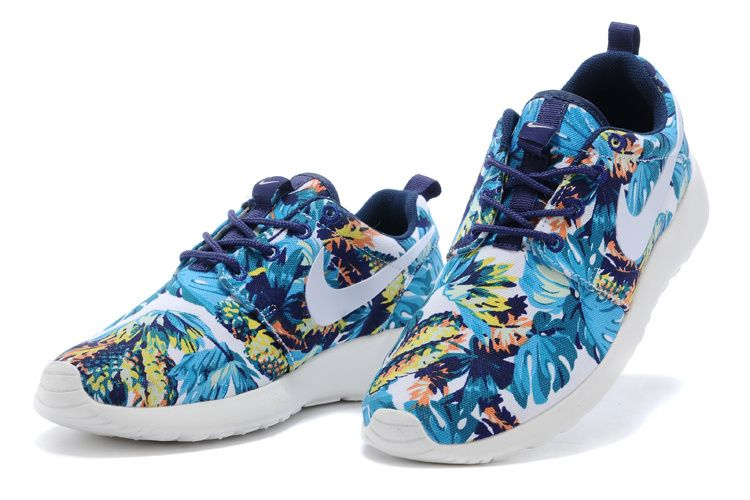 Nike Roshe Courir Chaussures Hommes Fleur Bleue Olympic