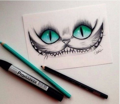 Alice in wonderland chesire cat drawing