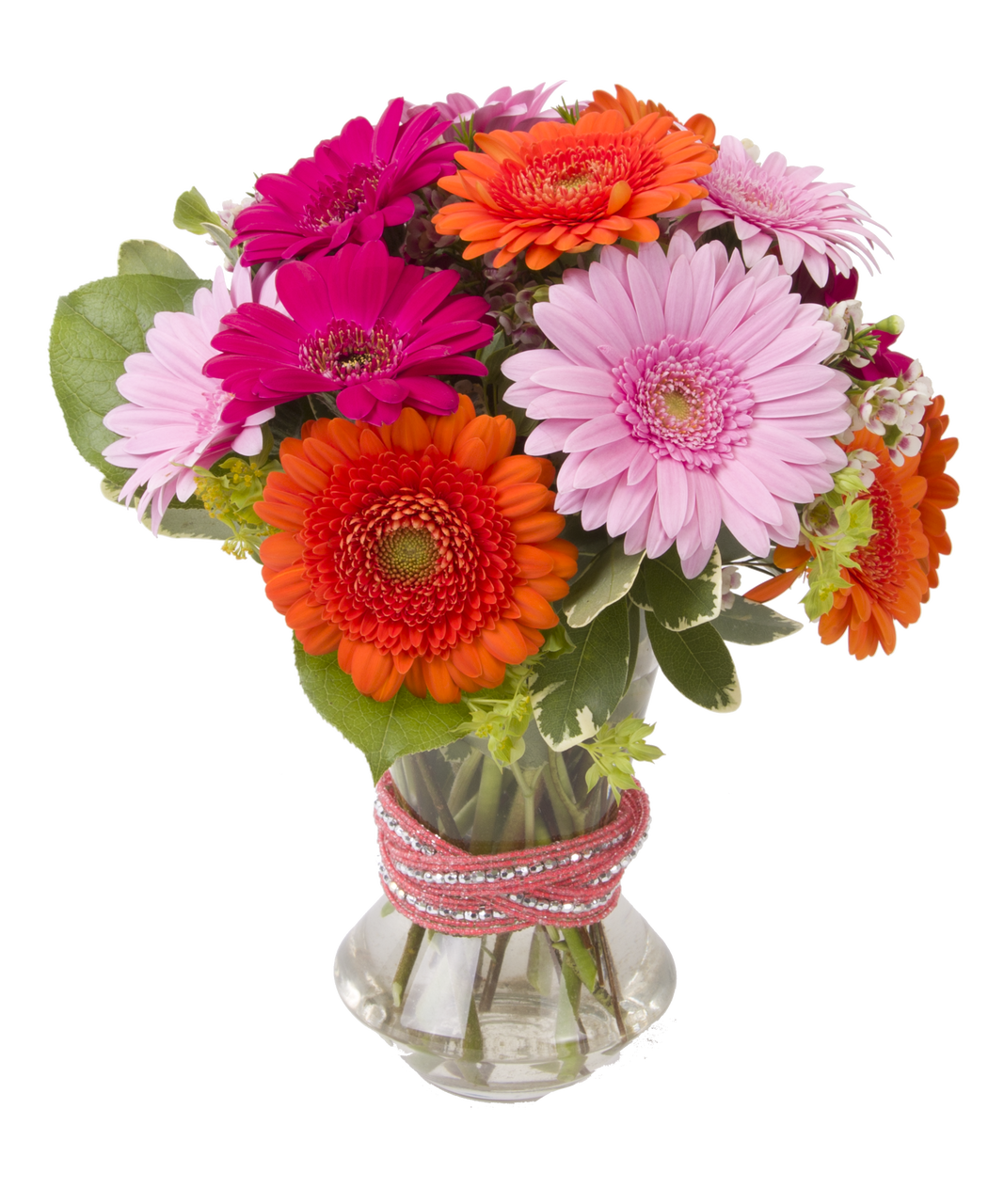This Lovely Mixture Of Colorful Gerbera S Daisy S Can Be Made To Match A Sparkling Beaded Cuff Bracelet O Flower Arrangements Order Flowers Online Garden Vases