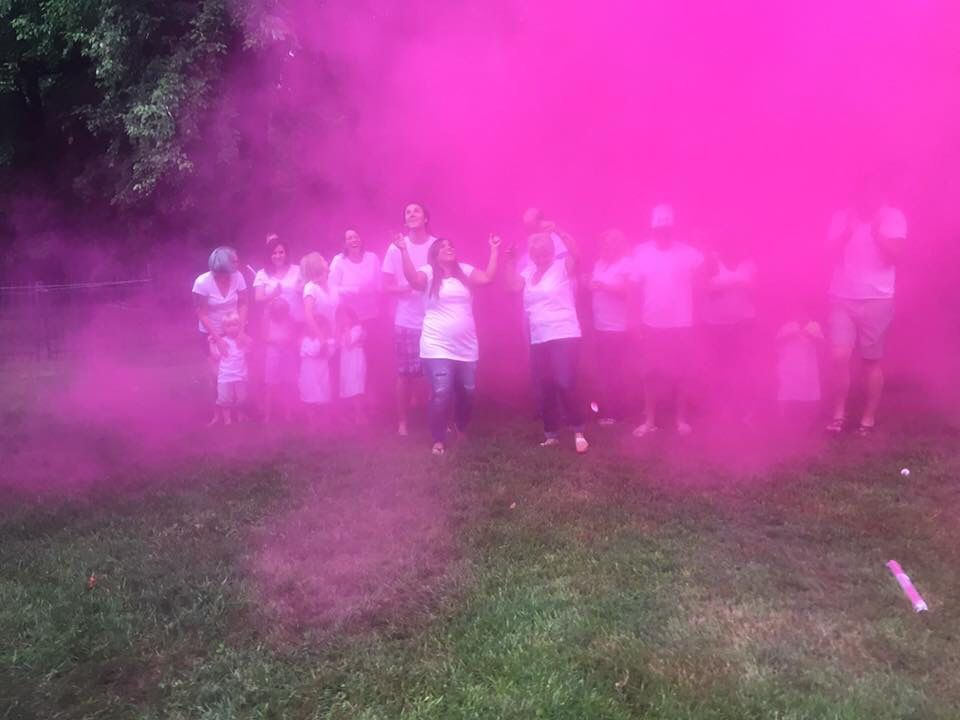 Powder Paint Color Cannons For A Gender Reveal Are Too Much Fun This Was Perfect Creative Gender Reveals Gender Reveal Balloons Gender Reveal Party