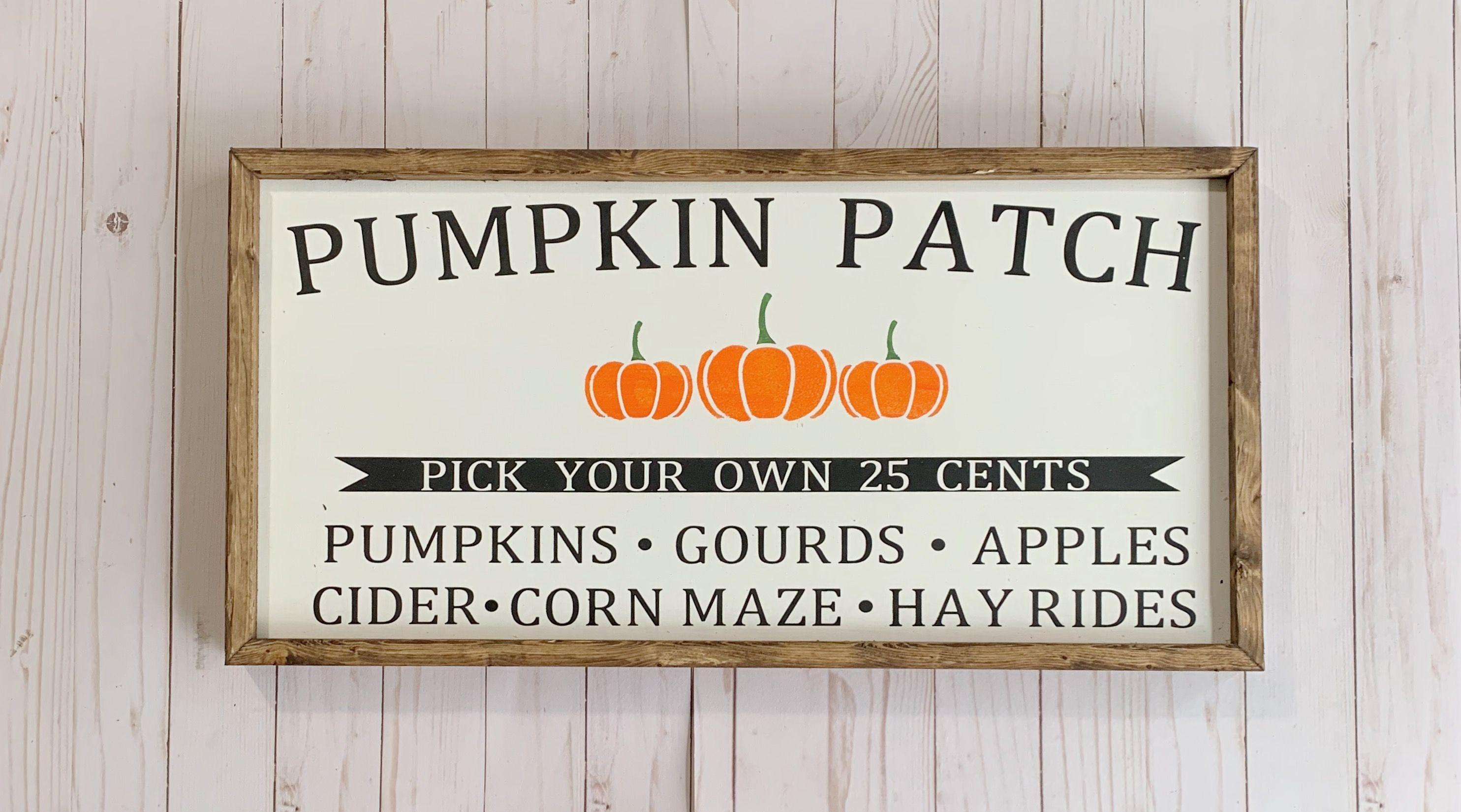 Pumpkin Patch Wooden Sign, Fall Farmhouse Style Sign, Farm