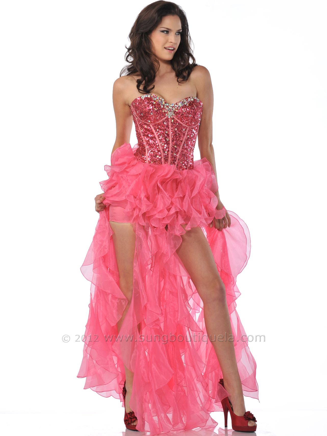 Sequin Corset Top Prom Dress with Ruffle Hem. Get yours today at ...