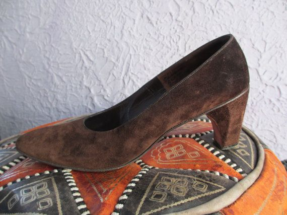 Vintage Herbert Levine Brown Suede Pumps Shoes by PaisleyBabylon