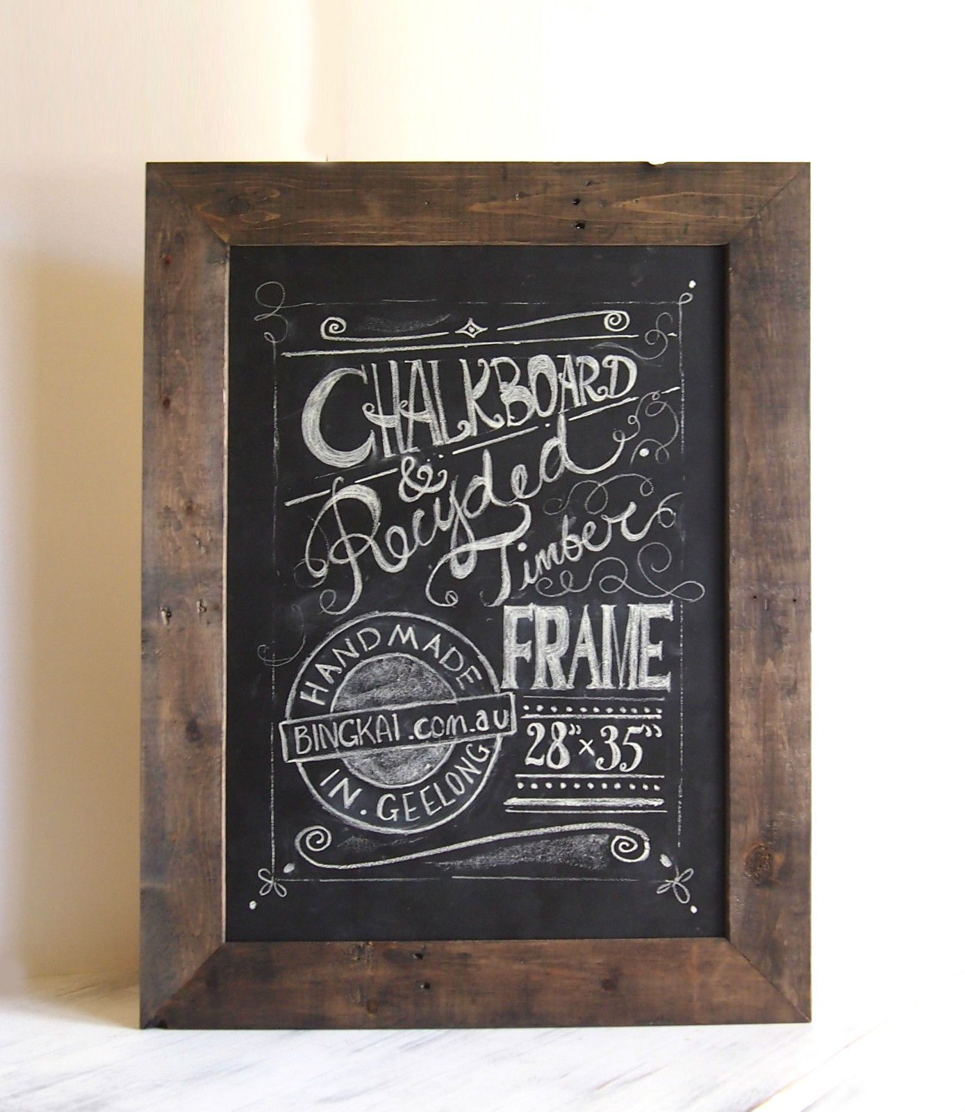 Large Vintage Style Chalkboard Industrial Rustic Frame Recycled Wood Timber