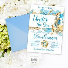 Beach bridal shower invitation under the sea bridal shower beach bridal shower invitation under the sea bridal shower invitation seahorse seashell starfish coral boho filmwisefo