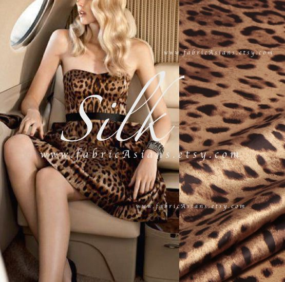 cr pe de chine leopard marron achat soie pas cher tissus habillement d co par fabricasians. Black Bedroom Furniture Sets. Home Design Ideas