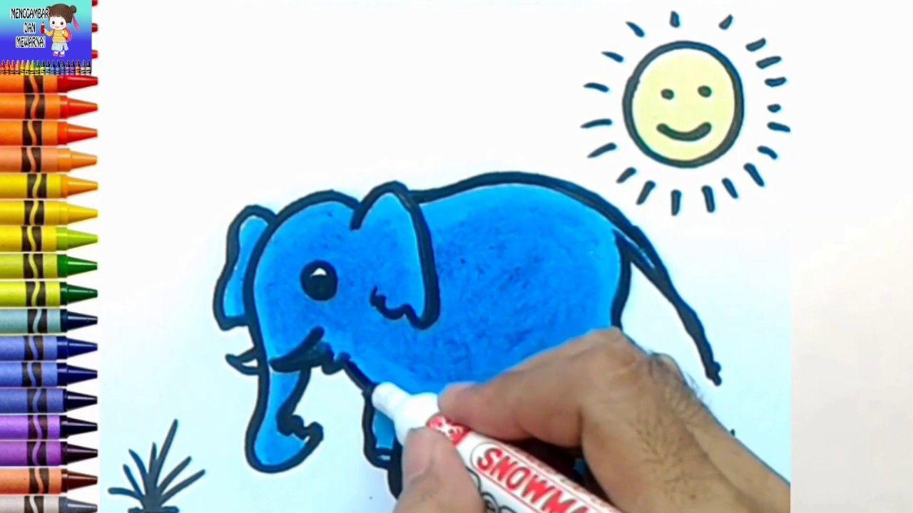 Menggambar Dan Mewarnai Gajah Untuk Anak Anak Mewarnai Gambar