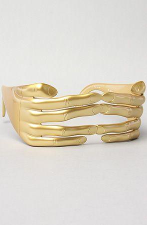 watch 27270 09485 Jeremy Scott for Linda Farrow Sunglasses The Hands Sunglasses in Gold    Karmaloop.com - Global Concrete Culture