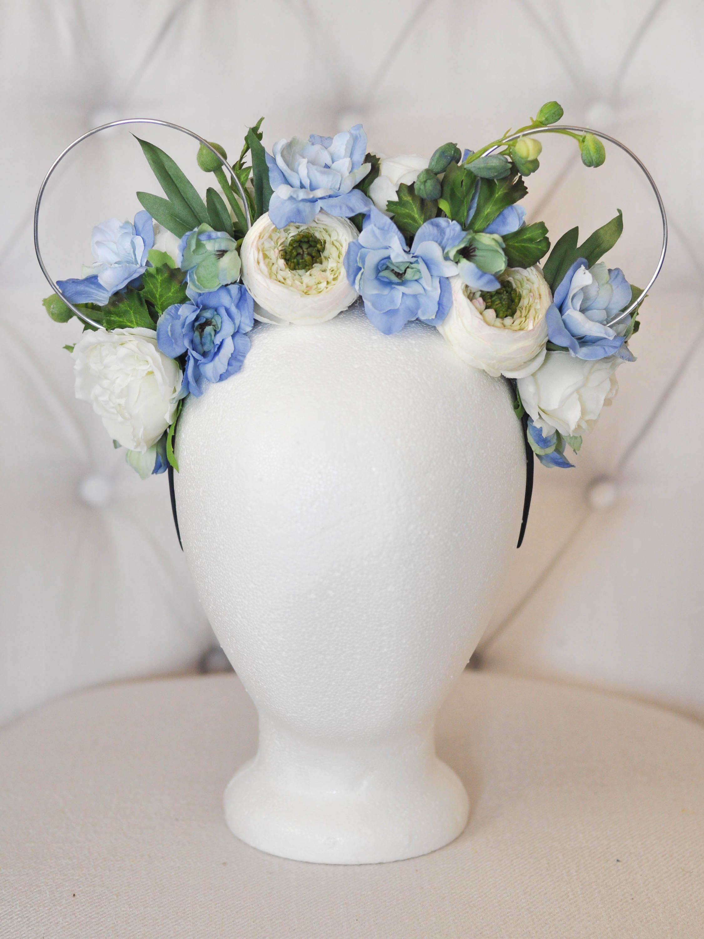 Cinderella Inspired Floral Mouse Ears | Blue & Ivory Silk Flowers ...