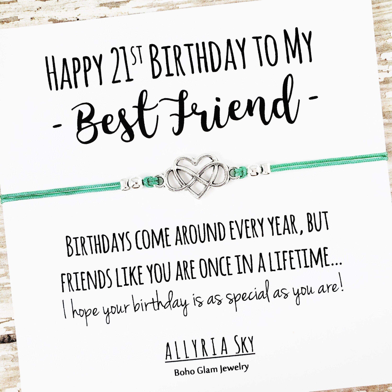 Happy 21st Birthday Best Friend Bracelet Best Friend Etsy 21st Birthday Cards Best Friend Birthday Friend Birthday Gifts