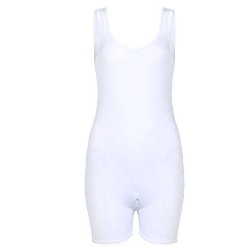 5ed2145c1fb6 Freebily Women s Sexy Sheer See-Through Zipper Crotch Bodysuit Lingerie Jumpsuits  White One Size