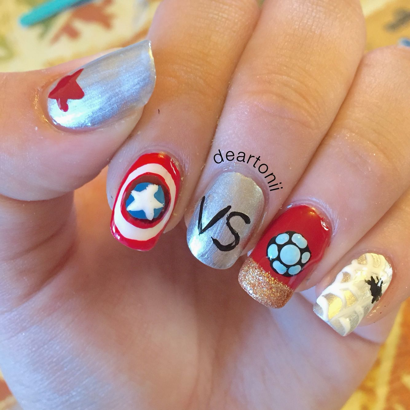 Captain America: Civil War inspired nail art. | Nailed It by ...
