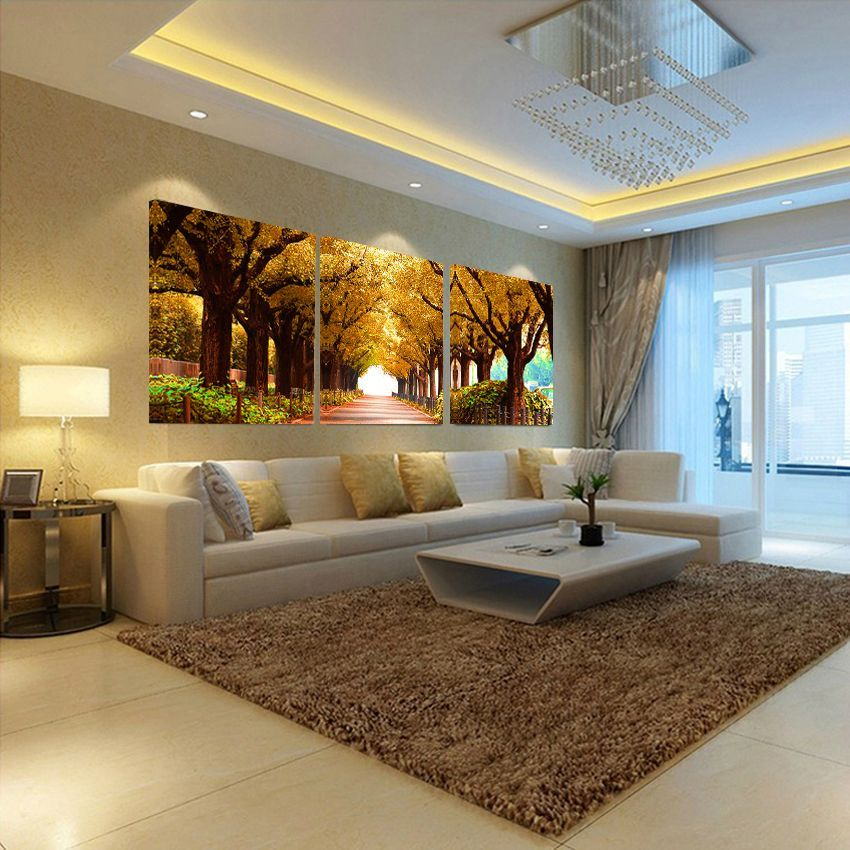 Trees Https://walldecordeals.com/no Frames 3pcs Tree · Living Room ...