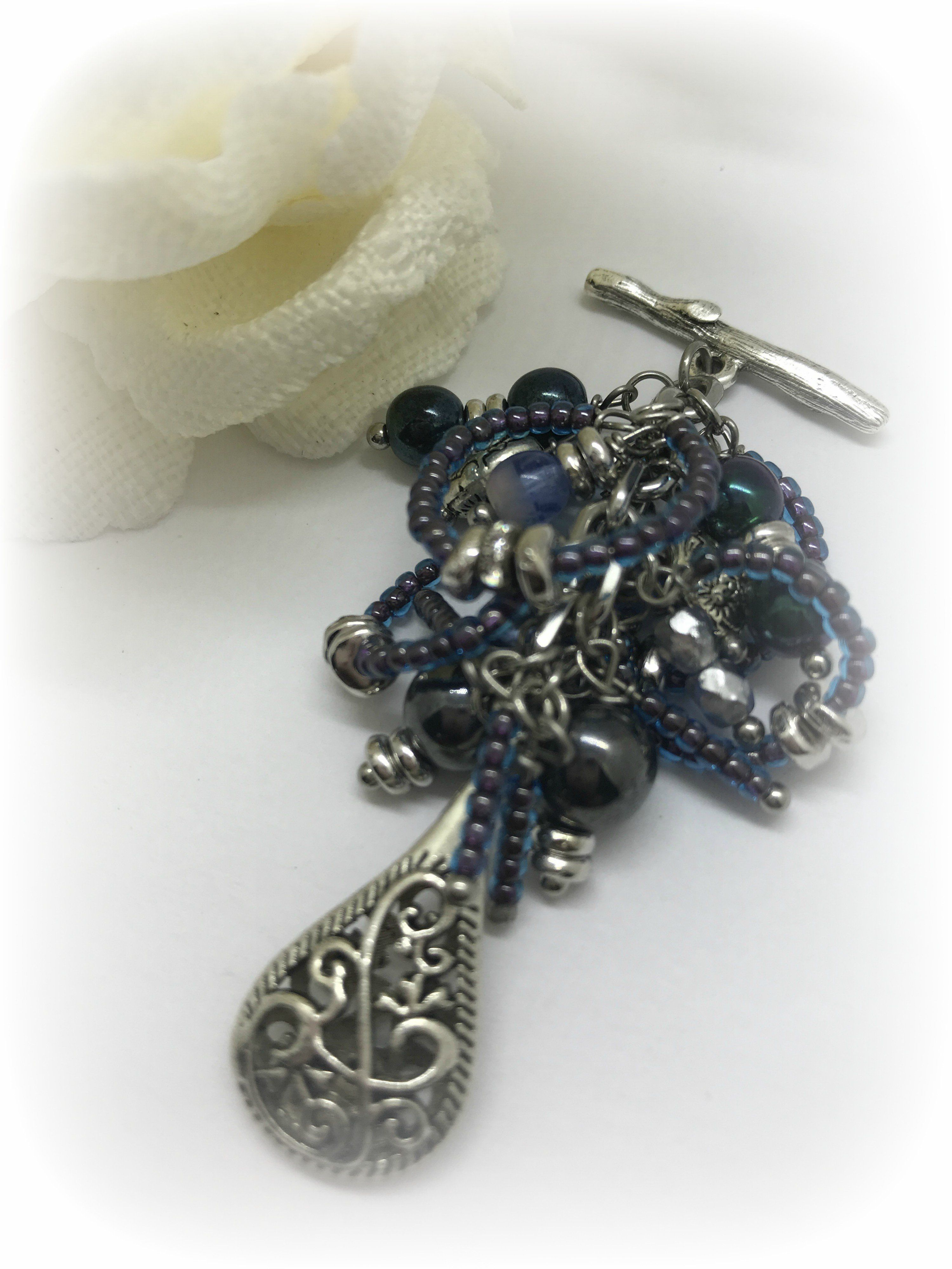 Blue seed bead interchangeable beaded pendant necklace 1517d blue seed bead interchangeable beaded pendant necklace 1517d aloadofball Choice Image
