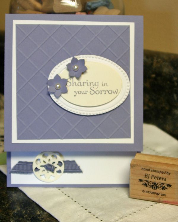 Sympathy card-Designer Frames EF, Simply Scored tool, Oval punch