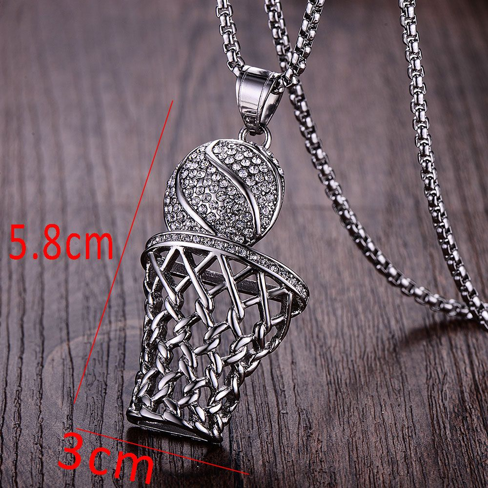 Wawfrok fashion men basketball pendants necklaces gold stainless