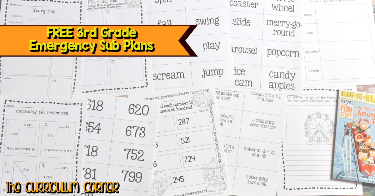 FREE 3rd Grade Emergency Sub Plans #emergencysubplans The Curriculum Corner just finished a brand new set of emergency sub plans for 3rd grade! You will find a full day of activities plus many extras. #emergencysubplans