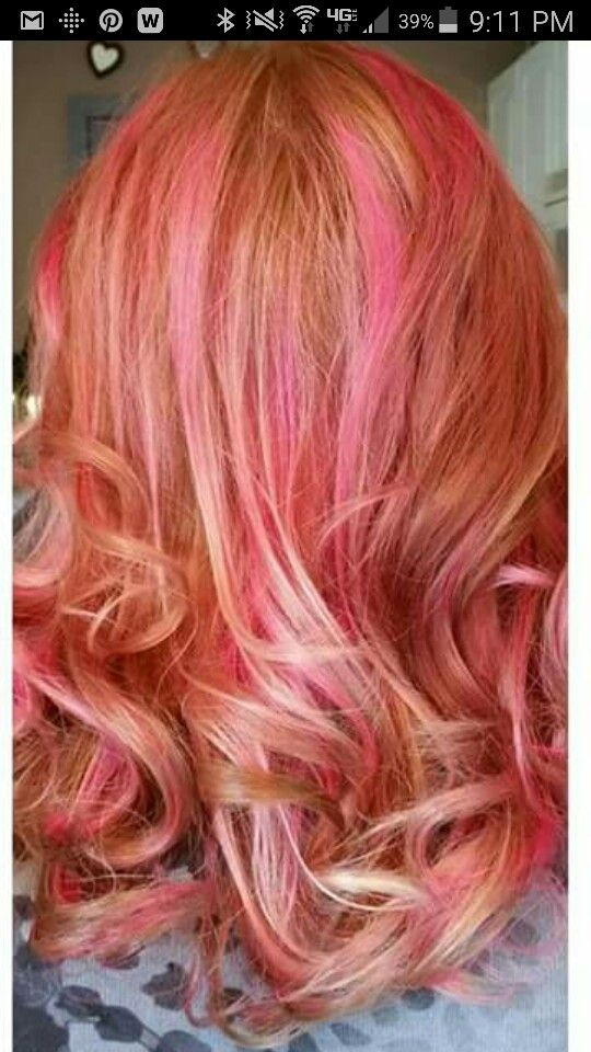 Pink and blonde highlights.  By Lauren Marie's Studio.  Mentor, OH 44060