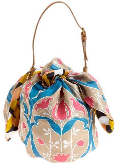 tie your scarf into a bag! Prada foulard scarf