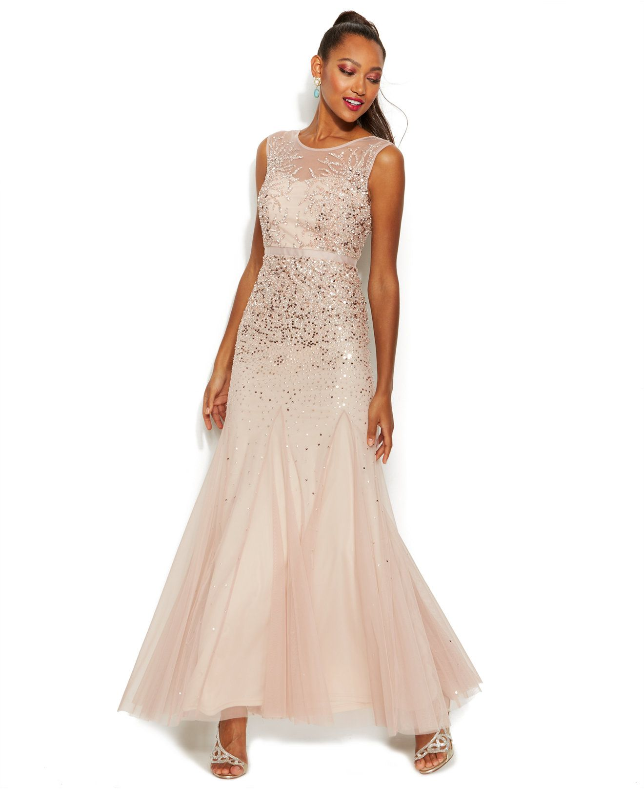 f8a639eb59 Adrianna Papell Petite Beaded Illusion Gown - Dresses - Women - Macy s